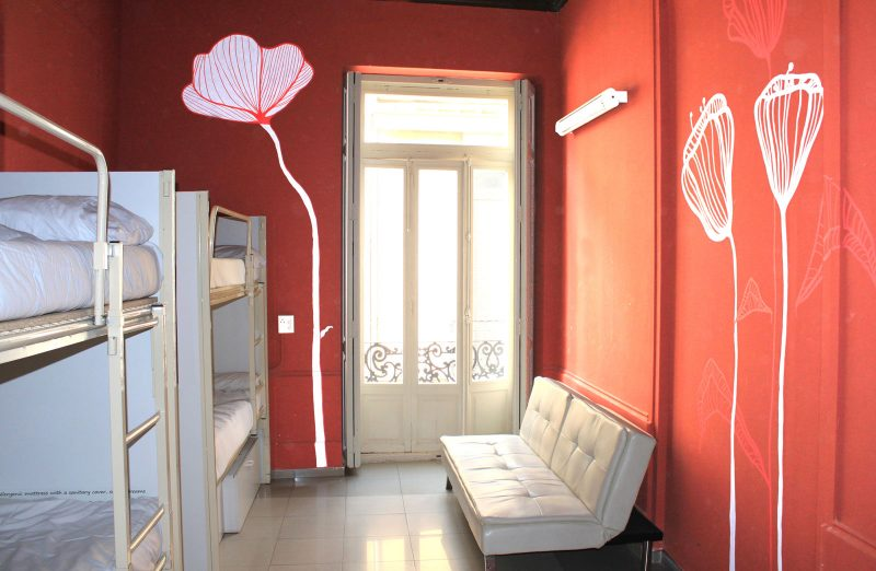 Spanish school accommodation red walls